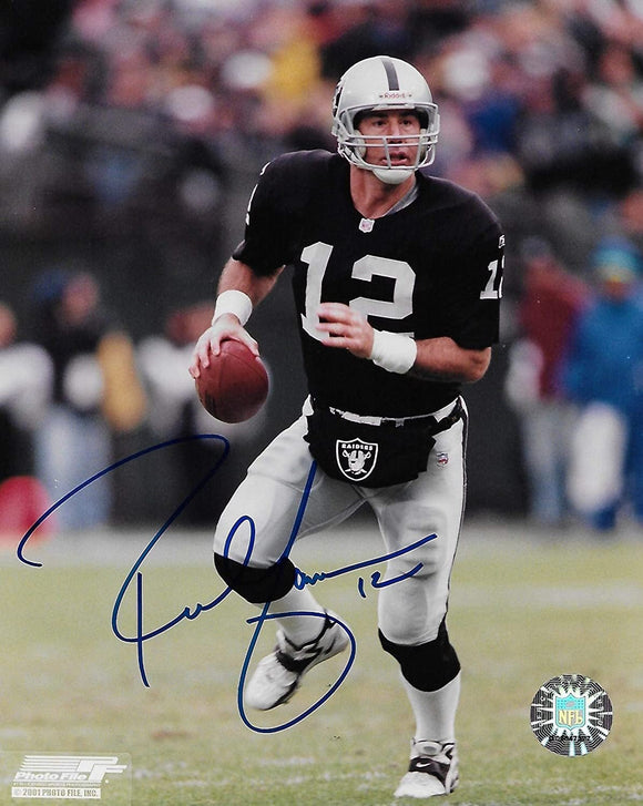Rich Gannon Oakland Raiders signed autographed football 8x10 Photo,proof COA