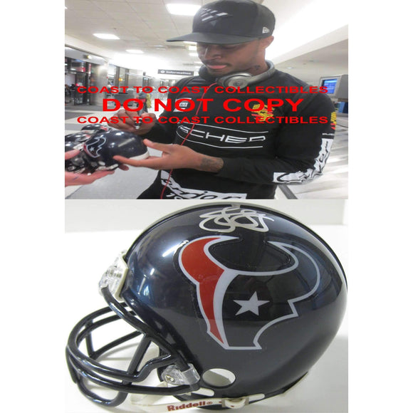 Jaelen Strong Houston Texans, Signed, Autographed, Mini Helmet, a COA with the Proof Photo of Jaelen Signing Will Be Included with the Football