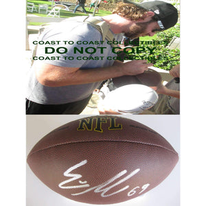 Evan Mathis, Denver Broncos, Philadelphia Eagles, Alabama, Signed, Autographed, NFL Football, a COA with the Proof Photo of Evan Signing Will Be Included