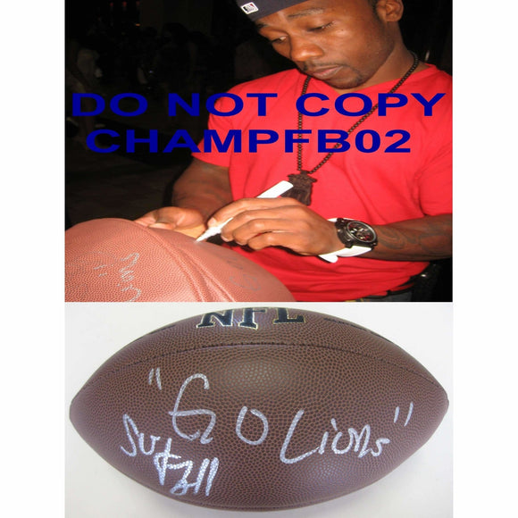 Stefan Logan, Detroit Lions, Signed, Autographed, NFL Football, a COA with the Proof Photo of Stefan Signing the Football Will Be Included