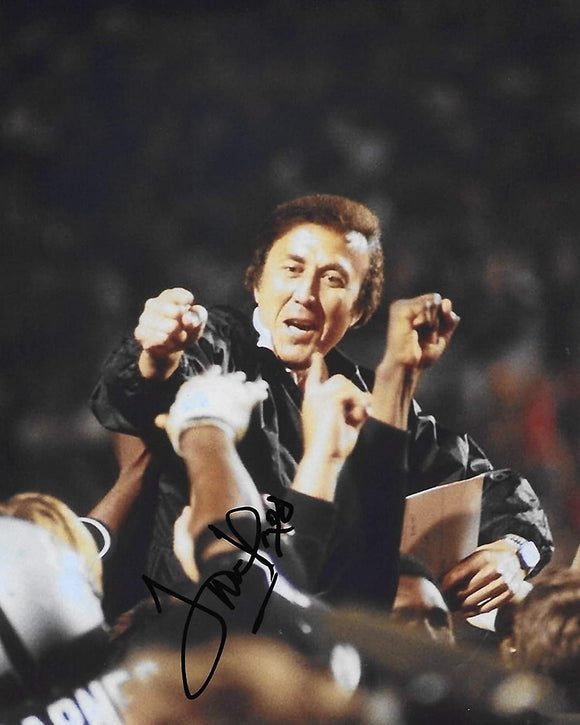 Tom Flores Oakland Raiders signed, autographed football 8x10 photo, proof COA