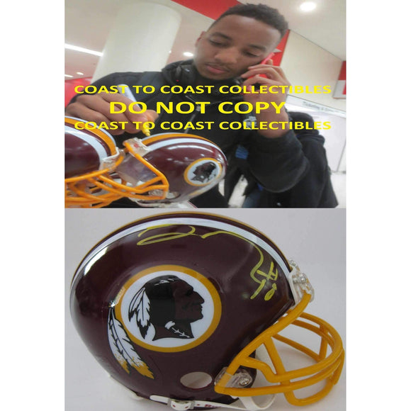 Josh Doctson Washington Redskins, Signed, Autographed, Mini Helmet, a COA with the Proof Photo of Josh Signing Will Be Included