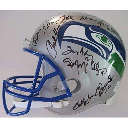 Seattle Seahawks, Legends, Signed, Autographed, Full Size Football Helmet, a Coa and the the Proof Photos of Seahawks Legends Signing Will Be Included.
