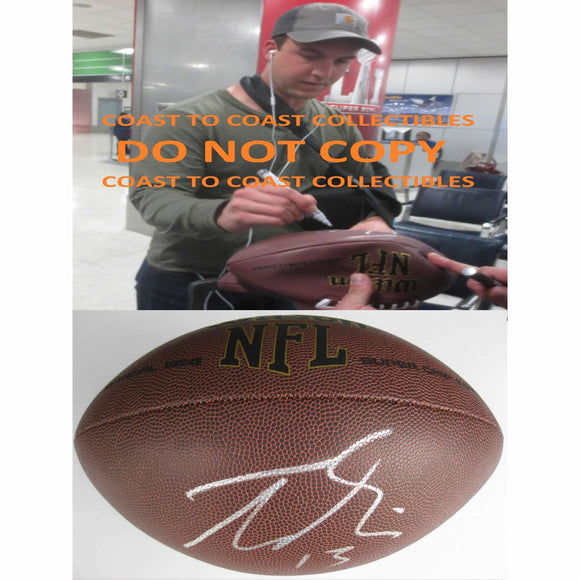 Trevor Siemian, Denver Broncos, Northwestern, Signed, Autographed, NFL Football, a Coa with the Proof Photo of Trevor Signing Will Be Included with the Football