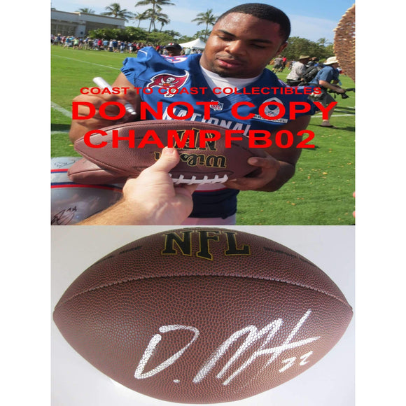 Doug Martin Oakland Raiders, Tampa Bay Buccaneers, Boise State Broncos signed, autographed football