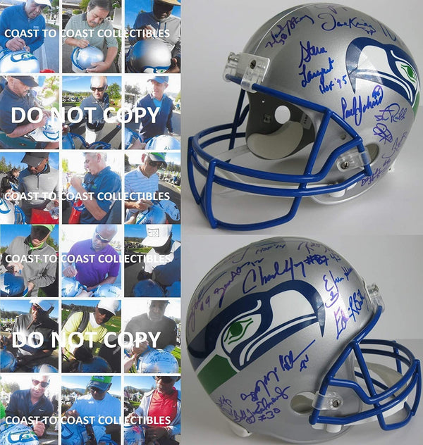 Seattle Seahawks Legends signed autographed full size football helmet COA proof