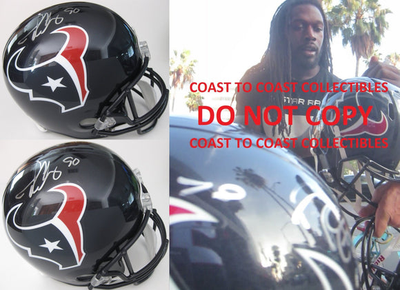 Jadeveon Clowney Houston Texans signed autographed full size Helmet, COA with the Proof Photo of Jadeveon Signing Will Be Included