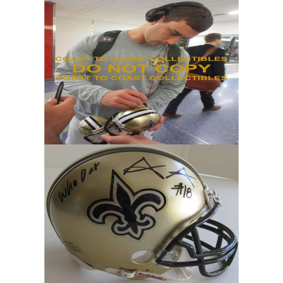 Garrett Grayson New Orleans Saints, Signed, Autographed, Mini Helmet, a COA with the Proof Photo of Garrett Signing Will Be Included