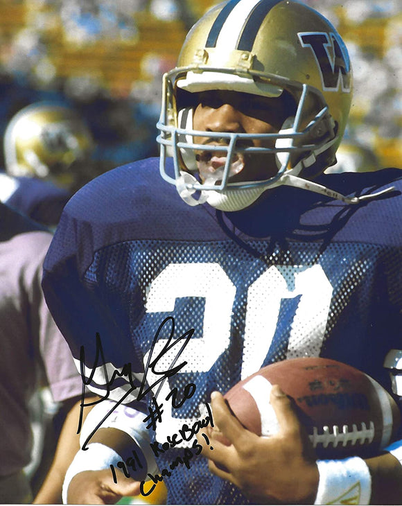 Greg Lewis signed Washington Huskies football 8x10 photo proof COA.