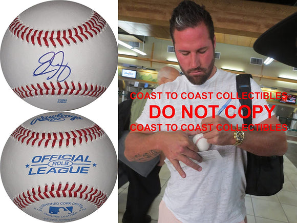 Eric Gagne Los Angeles Dodgers Boston Red Sox Rangers signed autographed baseball proof.
