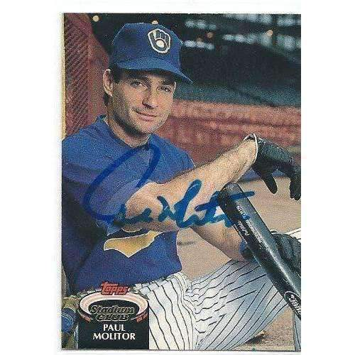 1992, Paul Molitor, Milwaukee Brewers, Signed, Autographed, Topps Stadium Club Baseball Card, Card # 230,