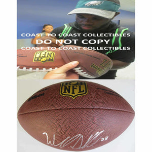 Wendall Smallwood, Philadelphia Eagles, West Virginia, Signed, Autographed, NFL Duke Football, a COA with the Proof Photo of Wendall Signing Will Be Included