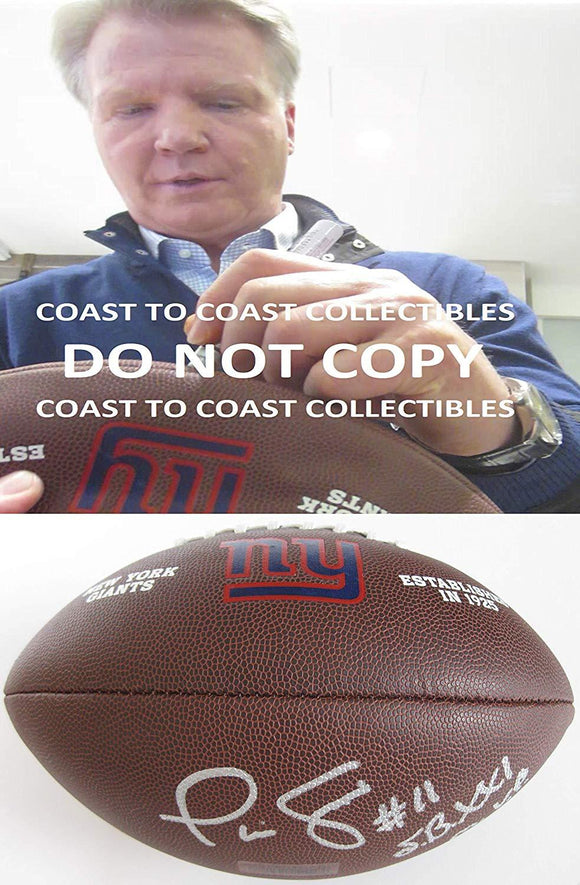 Phil Simms, New York Giants, SB MVP, signed, autographed, logo football,exact proof COA