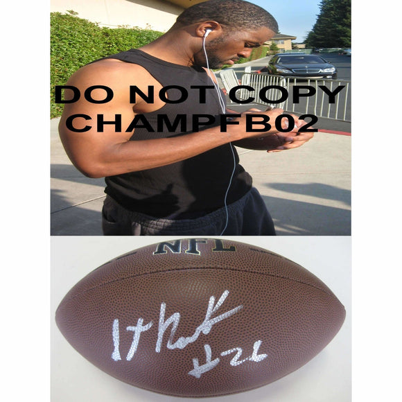 Stanford Routt, Kansas City Chiefs, Kc Chiefs, Oakland Raiders, Houston, Signed, Autographed, NFL Football, a COA with the Proof Photo of Stanford Signing Will Be Included