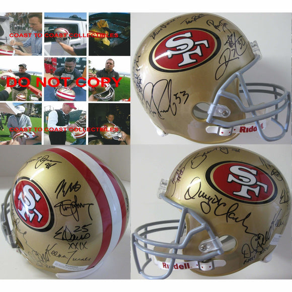 San Francisco 49ers, Legends, Signed, Autographed, Riddell Full Size Helmet, a COA with the Proof Photos of the 49ers Legends Signing the Helmet Will Be Included