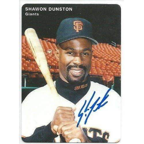 1996, Shawon Dunston, San Francisco Giants, Signed, Autographed, Mother's Cookies Baseball Card, Card # 11,