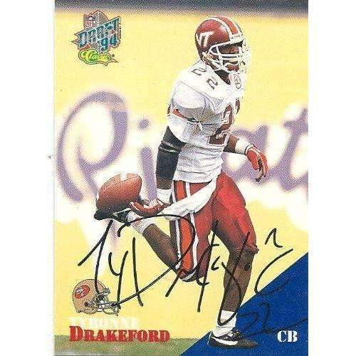 1994, Tyronne Drakeford, San Francisco 49ers, Signed, Autographed, Classic Football Card, Card # 54,