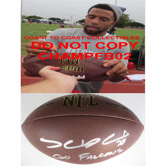 Thomas Decoud, Carolina Panthers, Atlanta Falcons, California Bears, Cal, Signed, Autographed, NFL Football, a Coa with the Proof Photo of Thomas Signing Will Be Included with the Football
