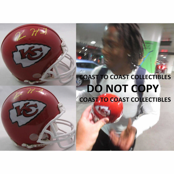 Kareem Hunt, Kansas City Chiefs, Signed, Autographed, Football Mini Helmet, a COA with the Proof Photo of Kareem Signing Will Be Included