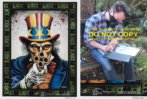 Emek Golan gig poster artist, illustrator signed 8x10 photo COA exact proof .STAR