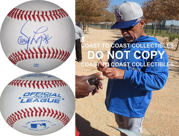 Davey Lopes Los Angeles Dodgers Astros signed autographed baseball COA proof