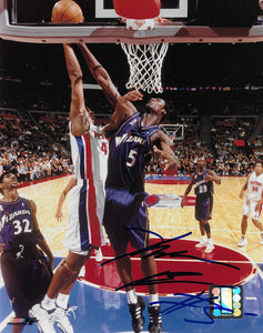Kwame Brown signed Washington Wizards basketball 8x10 photo COA.