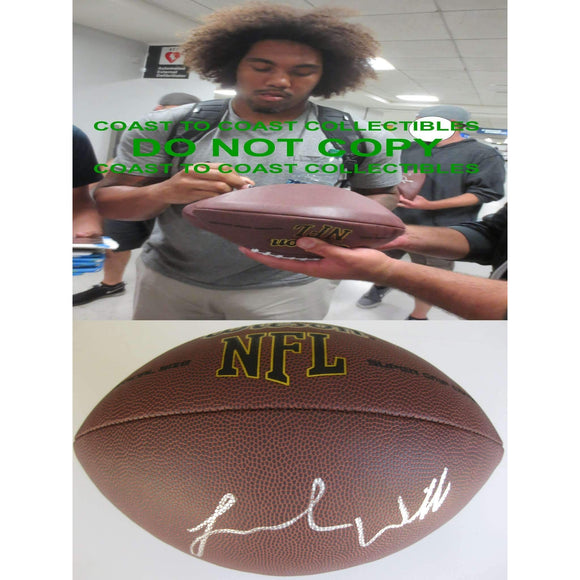 Leonard Williams New York Jets, USC Trojans, Signed, Autographed, NFL Football, a COA with the Proof Photo of Leonard Signing Will Be Included