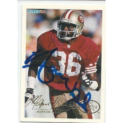 1994, Merton Hanks, San Francisco 49ers, Signed, Autographed, Fleer Football Card, Card # 413,