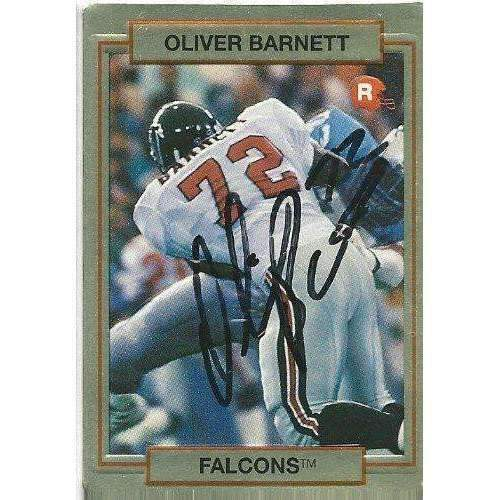 1990, Oliver Barnett, Atlanta Falcons, Signed, Autographed, Action Pack Football Card, Card # 61,