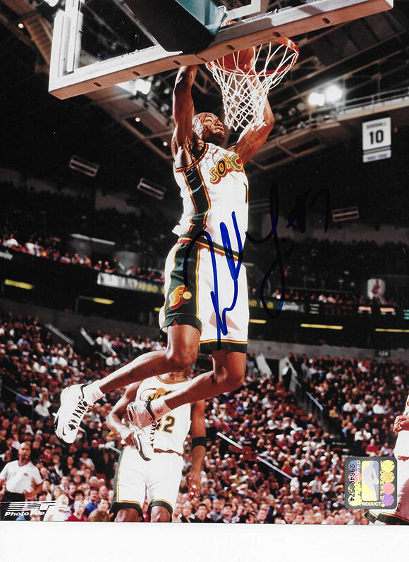 Rashard Lewis Seattle Supersonics signed basketball 8x10 photo COA.