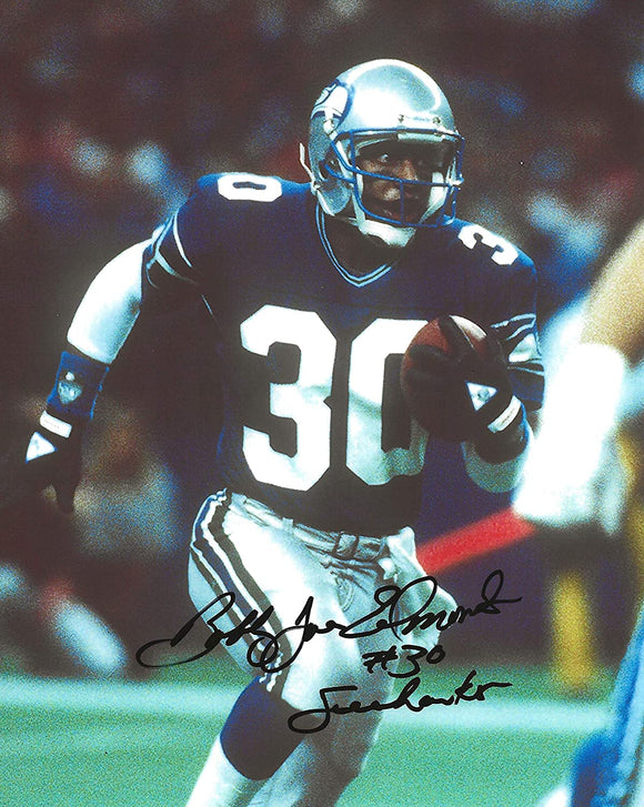 Bobby Joe Edmonds Seattle Seahawks signed football 8x10 photo proof COA