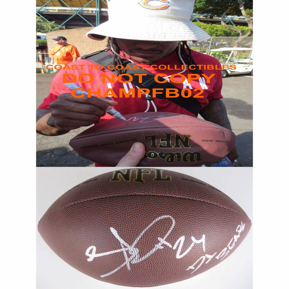 Tim Jennings, Chicago Bears, Colts, Georgia, Signed, Autographed, NFL Football, a COA with the Proof Photo of Tim Signing Will Be Included
