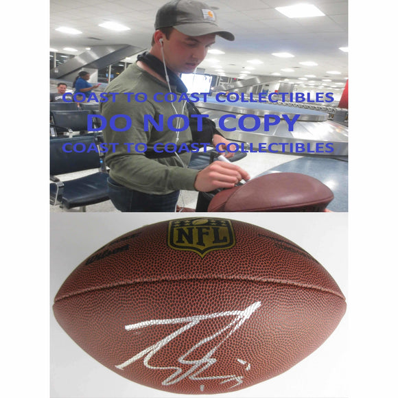 Trevor Siemian, Denver Broncos, Northwestern, Signed, Autographed, NFL Duke Football, a Coa with the Proof Photo of Trevor Signing Will Be Included with the Football