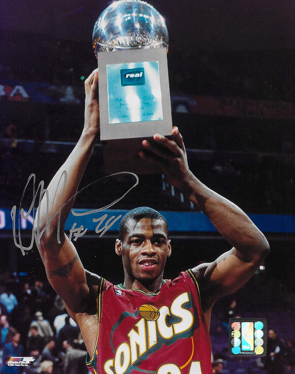 Desmond Mason Seattle Supersonics signed basketball 8x10 photo COA.