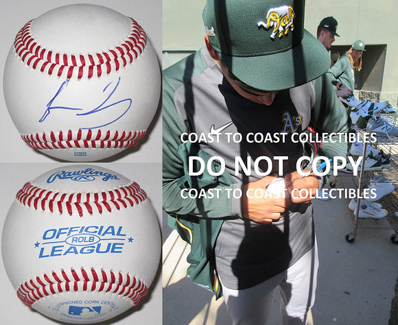 Jesus Luzardo Oakland Athletics A's signed autographed baseball COA exact proof