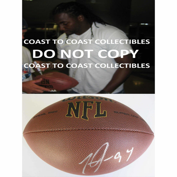 Tyson Jackson, Atlanta Falcons, Kansas City Chiefs, Lsu Tigers, Signed, Autographed, NFL Football, a COA with the Proof Photo of Tyson Signing Will Be Included