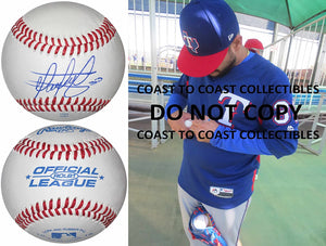 Martin Perez Boston Red Sox Texas Rangers signed autographed baseball COA proof
