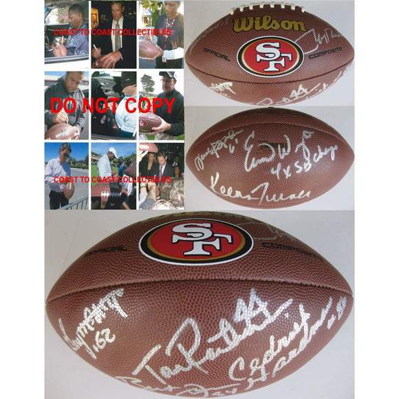 San Francisco 49ers, Legends, Signed, Autographed, Logo Football, a COA with the Proof Photos of the 49ers Legends Signing Will Be Included