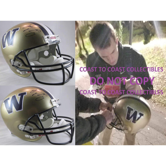 Jake Browning Washington Huskies, Signed, Autographed, Full Size Football Helmet,a COA With the Proof Photo of Jake Signing the Helmet Will Be Included