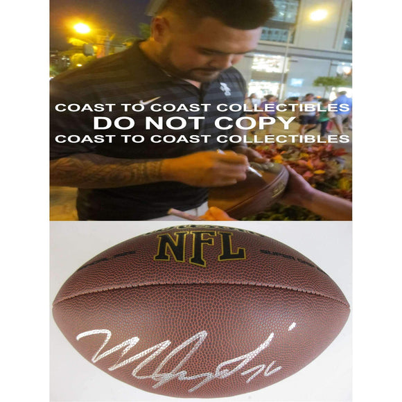 Mike Iupati, San Francisco 49ers, Arizona Cardinals, Signed, Autographed, NFL Football, a COA with the Proof Photo of Mike Signing Will Be Included
