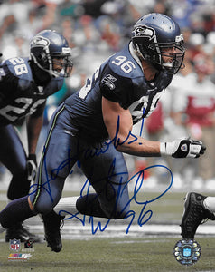 Grant Wistrom Seattle Seahawks signed football 8x10 photo COA