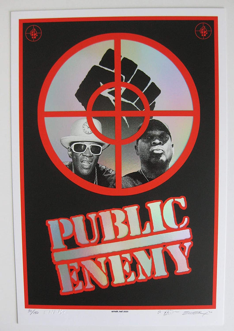 Public Enemy 2020 12x18 Emek poster foil with no date The Terrordome #30 of 150 STAR