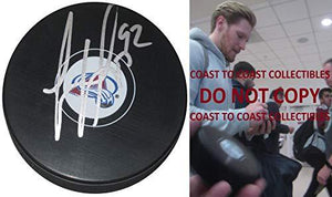 Gabriel Landeskog Colorado Avalanche signed autographed logo Hockey Puck,proof COA