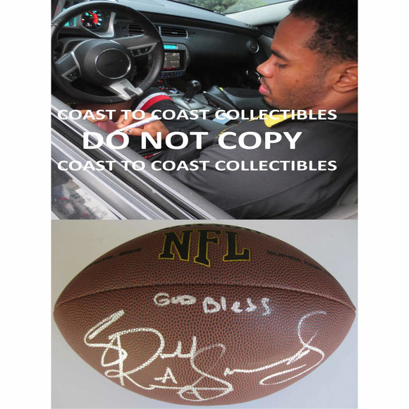 Rashad Jennings, New York Giants, Oakland Raiders, Liberty, Signed, Autographed, NFL Football, a COA with the Proof Photo of Rashad Signing the Football Will Be Included