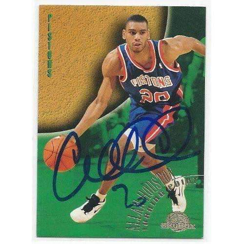 1995, Allan Houston, Detroit Pistons, Signed, Autographed, Skybox Basketball Card, Card # 136,