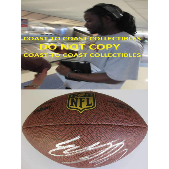 Eddie Lacy Seattle Seahawks, Green Bay Packers, Alabama, Signed, Autographed, NFL Duke Football,a COA with the Proof Photo of Eddie Signing Will Be Inlcuded