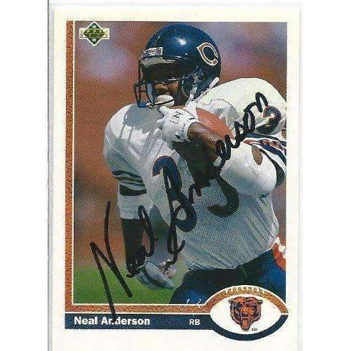 1991, Neal Anderson, Chicago Bears, Signed, Autographed, Upper Deck Football Card, Card # 244,