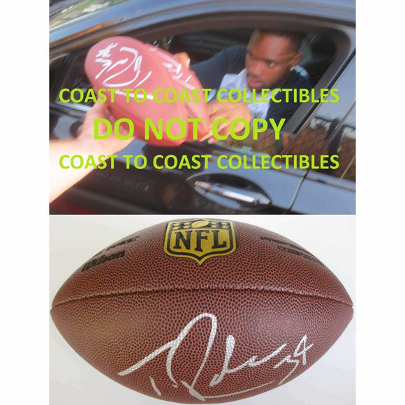 Thomas Rawls Seattle Seahawks, Signed, Autographed, NFL Duke Football, a COA with the Proof Photo of Thomas Signing Will Be Included with the Ball
