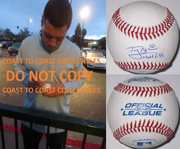 Ty Blach Baltimore Orioles SF Giants signed autographed baseball COA Proof