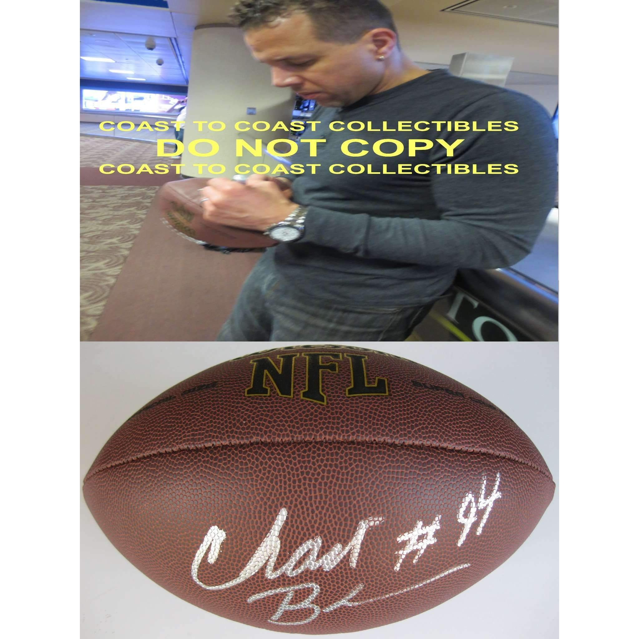 Chad Brown Pittsburgh Steelers, Seattle Seahawks, Patriots, Signed, Autographed, NFL Football,
